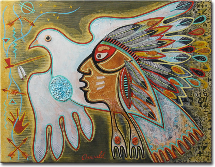 LA PAIX DES BRAVES - Painting ©2014 by Jean-Luc OSSWALD -                                            Contemporary painting, World Culture, Jean-Luc Osswald, indien, amérindien, autochtone, native indian, native paintings, amerindian art, native art, native indian spirit, Premières Nations, plume, paix, peace, brave, Channonpa