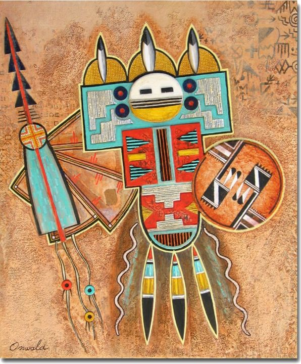DANSE DU FEU - Painting,  46x38 cm ©2014 by Jean-Luc OSSWALD -                                            Contemporary painting, World Culture, Jean-Luc Osswald, amérindien, indien, native indian, autochtone, première nation, native paintings, amerindian art, native art, Navajos, danse, native indian spirits