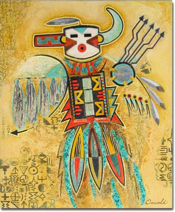 DANSE DE LA PLUIE - Painting,  46x38 cm ©2014 by Jean-Luc OSSWALD -                                            Contemporary painting, World Culture, Jean-Luc Osswald, amérindien, indien, native indian, autochtone, première nation, native paintings, amerindian art, native art, danse, Navajos, native indian spirits