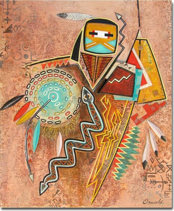DANSE DU SERPENT - Painting,  46x38 cm ©2014 by Jean-Luc OSSWALD -                                            Contemporary painting, World Culture, Jean-Luc Osswald, amérindien, indien, native indian, autochtone, première nation, native painting, amerindian art, native art, navajo, danse, native indian spirits