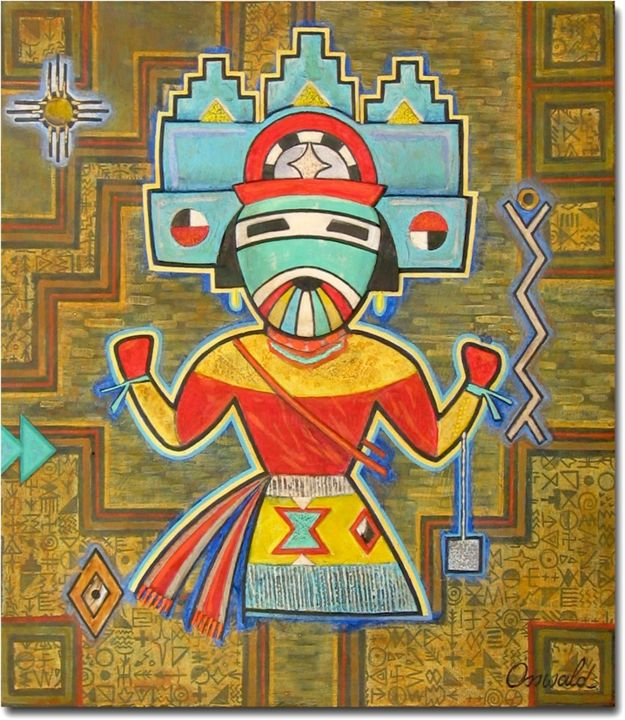 ESPRIT DE LA FILLE PAPILLON - Painting,  11.8x10.2 in, ©2015 by Jean-Luc OSSWALD -                                                                                                                                                                                                                                                                                                                                                                                                                                                                                                                                                                                                                                                                                                                                                                                                  World Culture, Jean-Luc Osswald, amérindien, indien, native indian, autochtone, Premières Nations, native paintings, amerindian art, native art, native indian spirits, légende, mythe, Hopi, Zuñi, danse, dance
