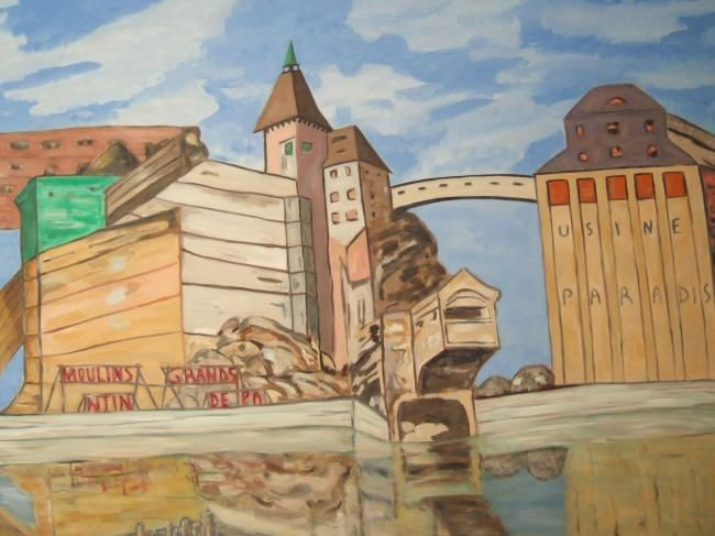 Grands Moulins - Painting,  44.9x57.5 in, ©2008 by Marblez -