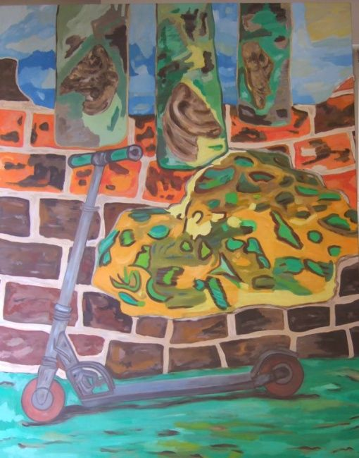 Le Mur - Painting,  59.1x39.4 in, ©2002 by Marblez -