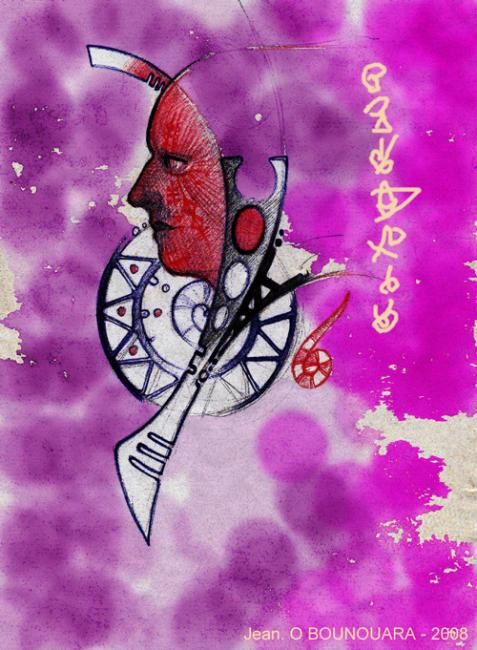 """Painting titled """"L'inconscience"""" by Ousama Bounouara, Original Art,"""