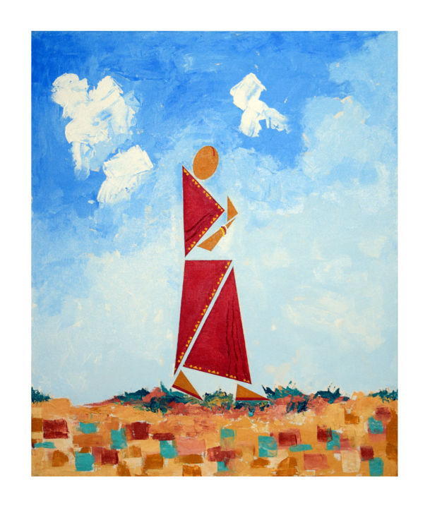 """Painting titled """"Bucolic wife - The…"""" by Ahmed Yasin, Original Art, Acrylic"""