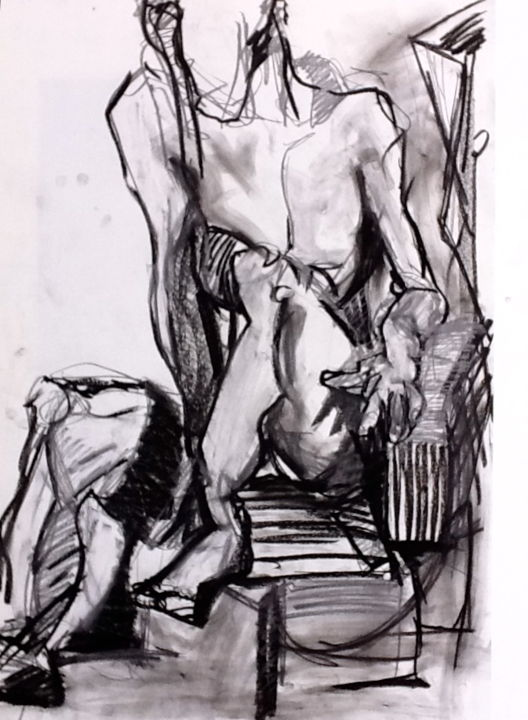 Sitzende - Drawing,  39.4x27.6 in, ©2012 by ovasko -                                                                                                                                                                                                                                                                                                              Expressionism, expressionism-591, Nude, Women, Body, Black and White