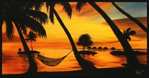 COUCHER DE SOLEIL - Painting ©2006 by Gilles Fraysse -