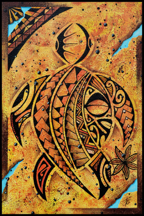 Honu (tortue en polynesien) - Painting,  60x40 cm ©2018 by Gilles Fraysse -                                                            Symbolism, Canvas, World Culture, tatouage, tattoo, polynesia, polynésie, tortue, turtle, tahiti