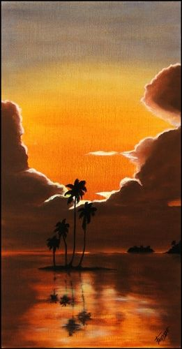SUN SET BEACH - Painting ©2006 by Gilles Fraysse -