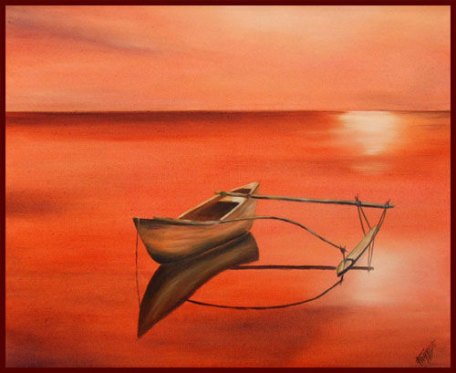 PIROGUE SUR LAGON - Painting,  60x50 cm ©2006 by Gilles Fraysse -