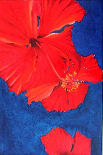 HIBISCUS - Painting,  60x40 cm ©2006 by Gilles Fraysse -            flower flowers fleur fleurs hibiscus exotic natural nature
