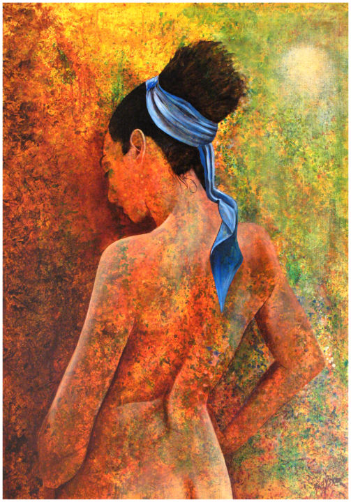 NUDE VAHINE - Painting,  91x64 cm ©2006 by Gilles Fraysse -                            World Culture, female, nude, polynesia, painting