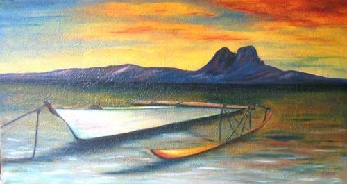 PIROGUE SUR BORA BORA / OUTRIGGER ON BORA BORA - Painting,  70x40 cm ©2006 by Gilles Fraysse -                            World Culture, bora tahiti pirogue boat outrigger marine coucher de soleil