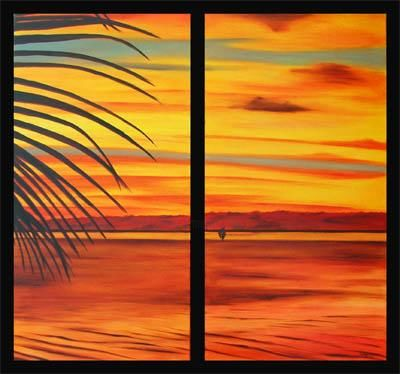 COUCHER DE SOLEIL MAHAREPA MOOREA TAHITI - Painting,  80x80 cm ©2006 by Gilles Fraysse -
