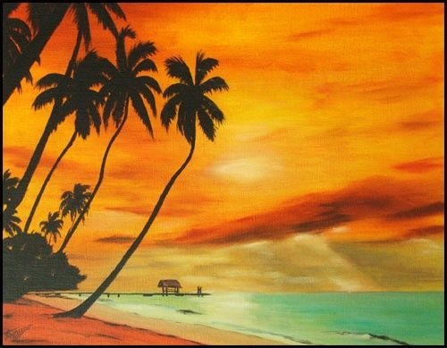 SUN SET MOOREA - Painting ©2006 by Gilles Fraysse -                            Contemporary painting, sun set reproduction impression affiche poster palm tree