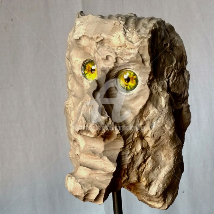 1914 - Sculpture,  13.4x5.9x5.9 in ©2019 by PAGÈS DU PILOU -                                        Outsider Art, People