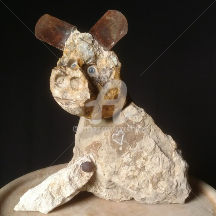 """""""Groingroin"""" - Sculpture,  15x14.2x3.9 in, ©2019 by PAGÈS DU PILOU -                                                                                                                                                                          Outsider Art, outsider-art-1044, Animals"""