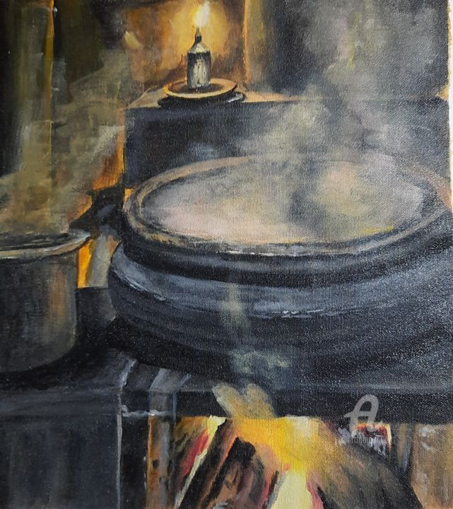 """Painting titled """"OLD IS GOLD"""" by Vindhya Acharya, Original Art, Acrylic"""