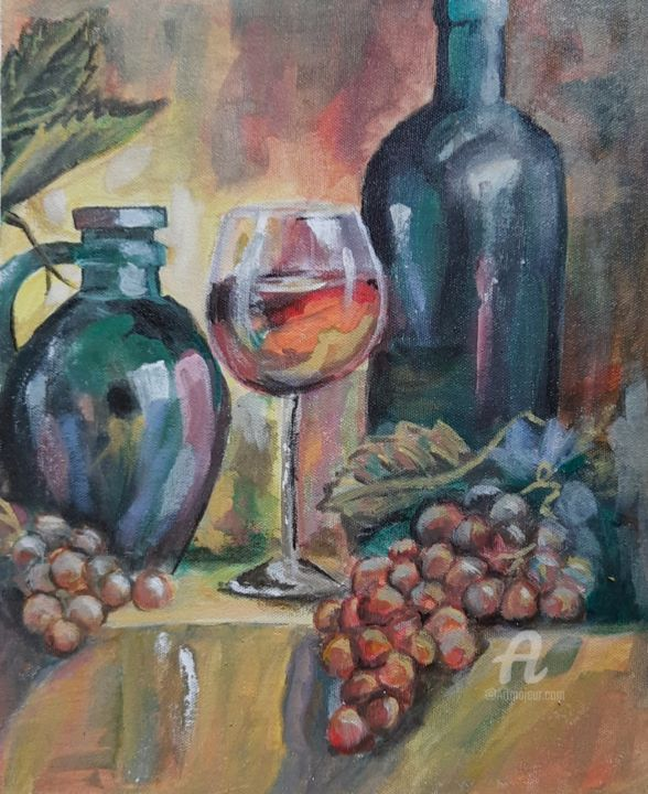 """Painting titled """"Grapes and wine"""" by Vindhya Acharya, Original Art, Acrylic"""
