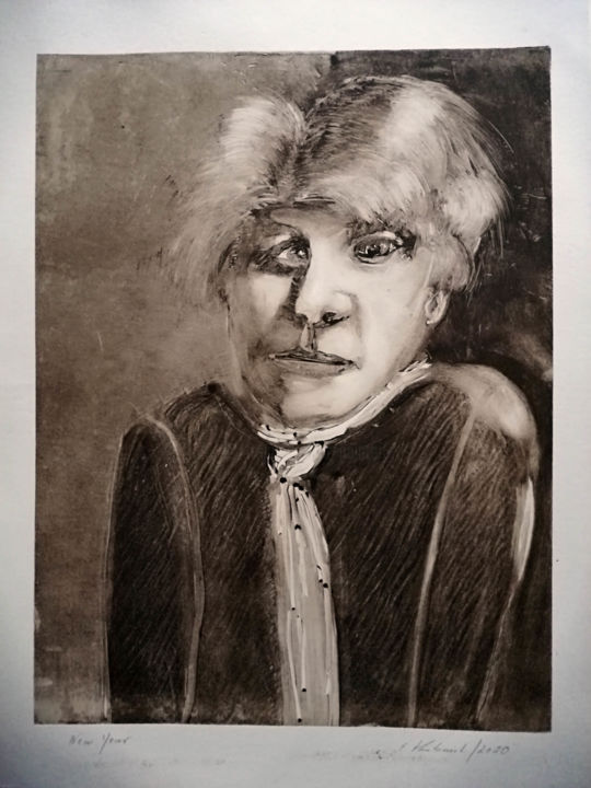 New Year - Printmaking,  18.9x13.4 in, ©2020 by Elke Thiébaut -                                                                                                                                                                                                                                                                                                                  Expressionism, expressionism-591, Portraits, homme, visage, estampe
