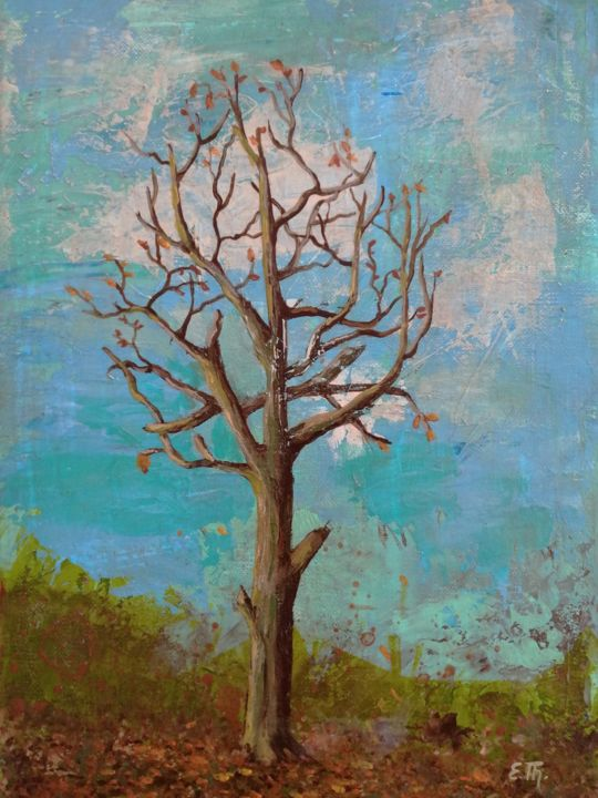 Arbre - Painting,  13x9.5x0.8 in, ©2020 by Elke Thiébaut -                                                                                                                                                                                                                                                                                                                                                                                                                                                                                                  Figurative, figurative-594, Tree, hiver, feuilles mortes, bleu, brun, blue, brown, wintertree