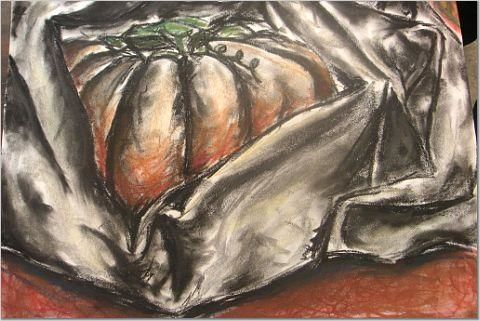 Pumpkin in Fabric - Painting, ©2004 by Brittany Sundgren -