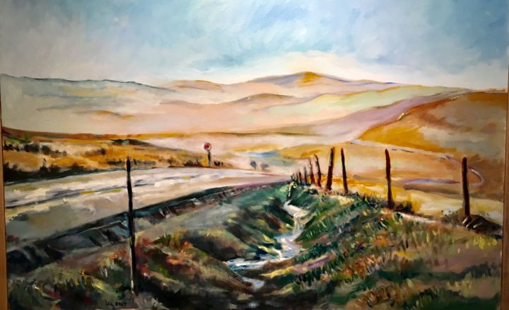 Lonely Road - Painting,  25.5x37.5x1.5 in ©2017 by Lee Andres Christiansen -                                                                Figurative Art, Impressionism, Land Art, Landscape