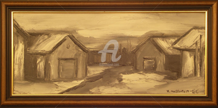"""Painting titled """"Buildings in Sweden"""" by Painters From Finland, Original Art, Oil"""