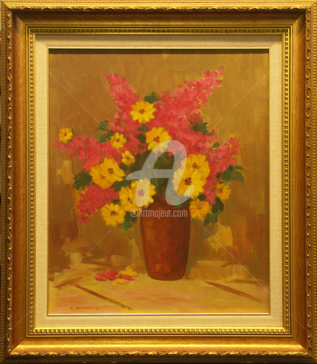 """Painting titled """"Flowers"""" by Painters From Finland, Original Art, Oil"""