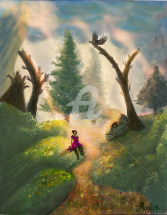 """Painting titled """"The Dreamy Path"""" by Moalix, Original Art,"""