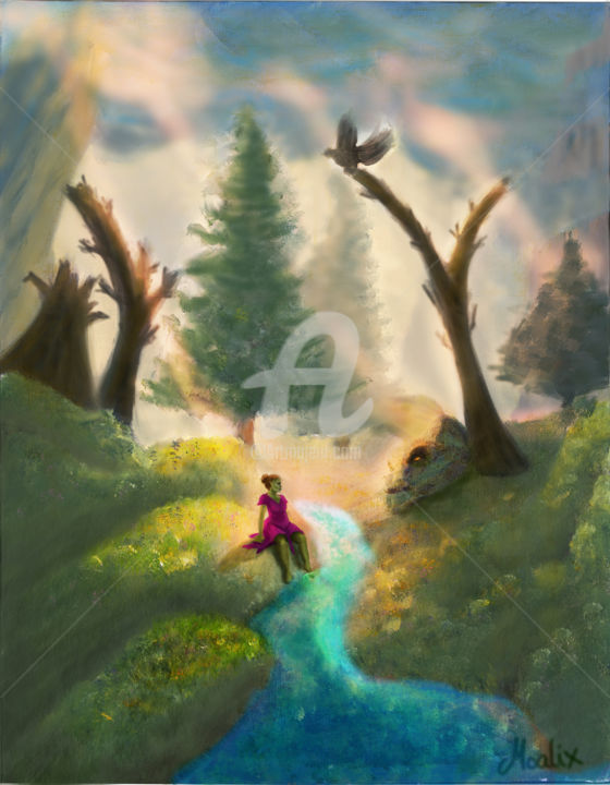 """Painting titled """"The Dreamy River"""" by Moalix, Original Art,"""