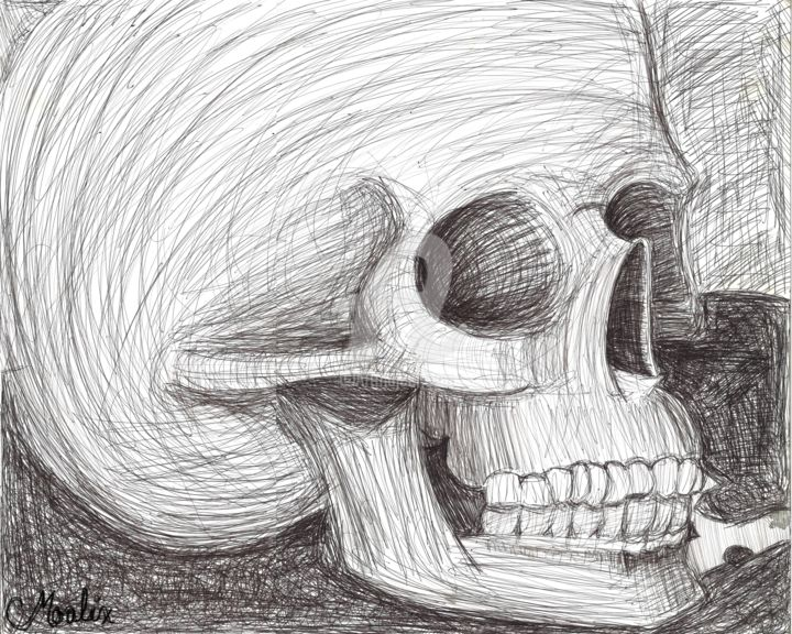 """Painting titled """"Inky Skull"""" by Moalix, Original Art, Ink"""
