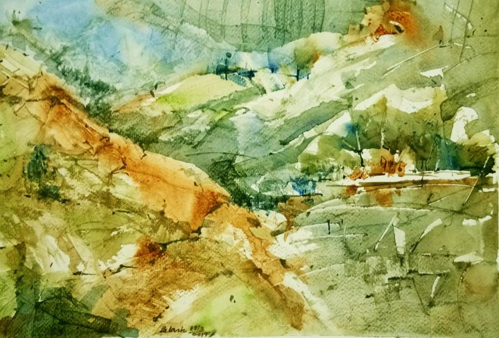 """Painting titled """"Untitled Landscape"""" by P Bhaduri, Original Art, Watercolor"""