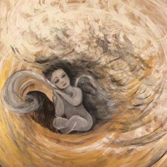 a dream un reve - Painting,  35.4x35.4x0.4 in, ©2016 by Pamela Gerard -                                                                                                                                                                                                                                                                                                                                                                                                                                                                                                                                              Figurative, figurative-594, Angels, Aerial, Time, a dream, songes, refuge, rever, plume, mains jointes