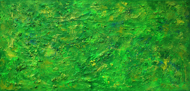 Iocaste - Painting,  60x120x2 cm ©2017 by Pamela Rys -                                                                                                            Abstract Art, Abstract Expressionism, Contemporary painting, Canvas, Abstract Art, Landscape, Outer Space, pamela rys, green, abstract