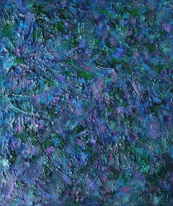 """TRAPPIST-1e : 47"""" x 36"""" - 120 x 100 cm - Painting,  120x100x4 cm ©2017 by Pamela Rys -                                                                                                                                    Abstract Art, Abstract Expressionism, Contemporary painting, Canvas, Abstract Art, Landscape, Nature, Outer Space, Spirituality, pamela rys, trappist, trappist-1, trappistone, abstract, abstraction, blue abstract, large abstract"""