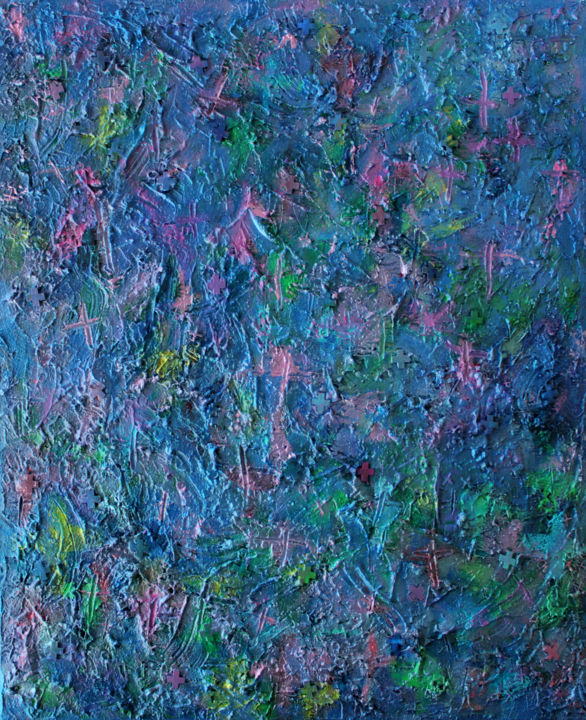 "TRAPPIST-1f : 47"" x 36"" - 120 x 100 cm - Painting,  120x100x4 cm ©2017 by Pamela Rys -                                                                                                                                    Abstract Art, Abstract Expressionism, Contemporary painting, Canvas, Abstract Art, Landscape, Nature, Outer Space, Spirituality, pamela rys, pamelarys, landscape, texture, textured, abstract, texture art, trappist-1f, blue"