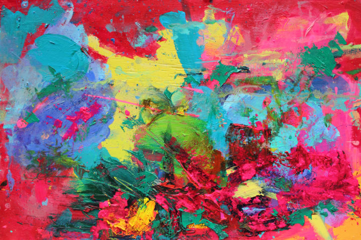 """Electric Feel : 16"""" x 24"""" - 40 x 60 cm - Painting,  40x60x0.3 cm ©2017 by Pamela Rys -                                                                                    Abstract Art, Abstract Expressionism, Contemporary painting, Wood, Abstract Art, pamela rys, abstract, electric feel, abstraction, color, colorful"""