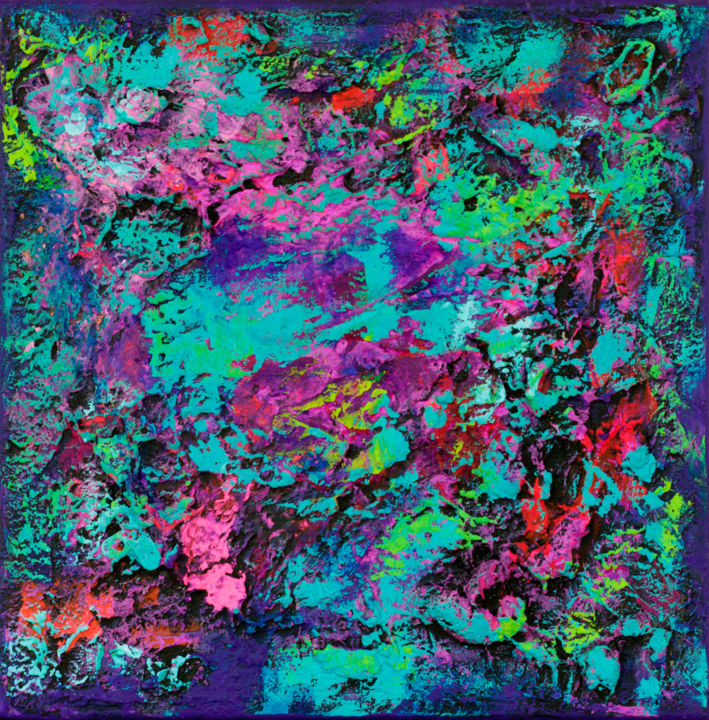 """Periwinkle Twinkle : 11"""" x 11"""" - 29 x 29 cm - Painting,  29x29x2 cm ©2018 by Pamela Rys -                                                                                    Abstract Art, Abstract Expressionism, Contemporary painting, Canvas, Abstract Art, pamela rys, abstract, abstraction, arte"""