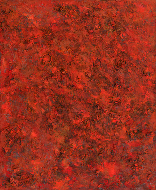 """Metis : 47"""" x 36"""" - 120 x 100 cm - Painting,  120x100x4 cm ©2018 by Pamela Rys -                                                                                    Abstract Art, Abstract Expressionism, Canvas, Abstract Art, Outer Space, pamela rys, absract, abstraction, outer space, metis, red"""