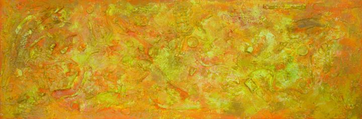 "Eurydome : 16"" x 47"" - 40 x 120 cm - © 2018 pamela rys, pamelarys, abstract, abstraction, outer space, jupiter, yellow Online Artworks"