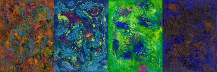 """Color Emotions - TETRAPTYCH : 16"""" x 47"""" - 40 x 120 - Painting,  40x120x2 cm ©2018 by Pamela Rys -                                                                        Abstract Art, Abstract Expressionism, Canvas, Abstract Art, pamela rys, abstract, abstraction, matter painting, informel"""