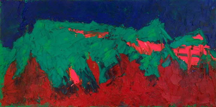 """Mountains : 12"""" x 24"""" - 30 x 60 cm - Painting,  30x60x2 cm ©2018 by Pamela Rys -                                                                                                                    Abstract Art, Abstract Expressionism, Expressionism, Impressionism, Canvas, Abstract Art, Landscape, Nature"""