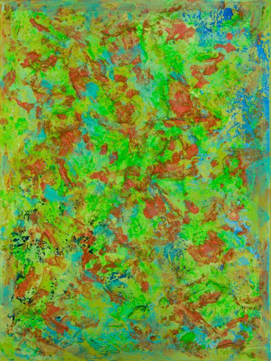 Matter Painting 85 - Painting,  40x30x2 cm ©2019 by Pamela Rys -                                                                                    Abstract Art, Abstract Expressionism, Contemporary painting, Canvas, Abstract Art, green, orange, fine art, abstract, abstraction