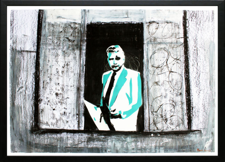 """Blake Carrington in Window : 70 x 100 cm 39"""" x 28"""" - Painting,  73x103x5 cm ©2014 by Pamela Rys -                                                                                                                                                Abstract Art, Abstract Expressionism, Contemporary painting, Street Art (Urban Art), Paper, Abstract Art, Angels, Celebrity, People, Portraits, pamela rys, dynasty, blake carrington, stencil, stencils, street art"""