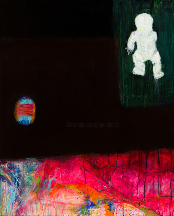 Still Life with Volleyball and Doll : 100 x 80 cm - © 2013 pamela rys, abstract, still life Online Artworks