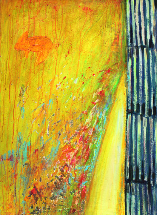 """What Does The Fox Say? : 38"""" x 28"""" - 96 x 70 cm - Painting,  95.7x70x0.5 cm ©2013 by Pamela Rys -                                                                                                                        Abstract Art, Abstract Expressionism, Contemporary painting, Expressionism, Impressionism, Other, Animals, Still life, yellow, fox, animal, still life, pamela rys"""