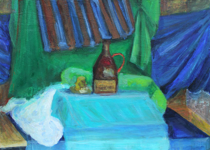 "Still Life with Mead Bottle 20"" x 28"" - 50 x 70 cm - Painting,  50x70x0.5 cm ©2012 by Pamela Rys -                                                                        Contemporary painting, Impressionism, Other, Still life, still life, pamela rys, mead bottle, botlle, impressionism"