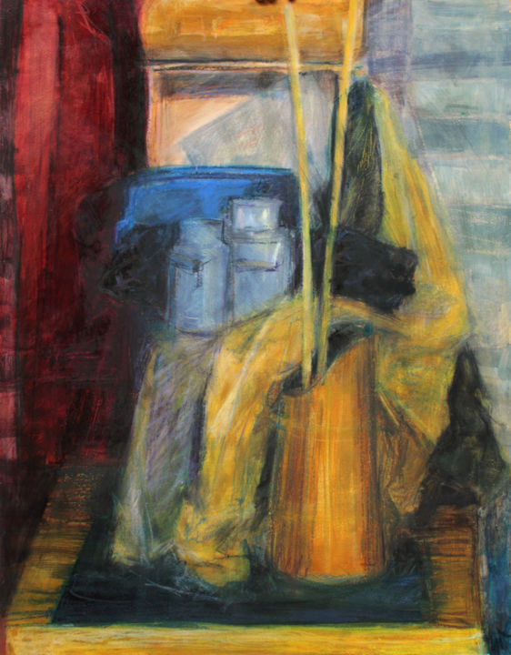 "Still Life with Milk Cans : 39"" x 28"" - 90 x 70 cm - Painting,  90x70x0.5 cm ©2005 by Pamela Rys -                                                                                                Classicism, Contemporary painting, Figurative Art, Impressionism, Other, Still life, pamela rys, still life, milk, milk can, yellow, ochre"