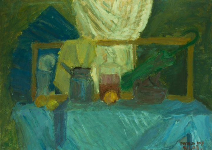 "Green Still Life : 28"" x 39"" - 70 x 100 cm - Painting,  70x100x0.5 cm ©2005 by Pamela Rys -                                                                        Contemporary painting, Impressionism, Other, Still life, pamela rys, green, still life, green still life"